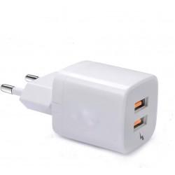 Incarcator telefon 5A MRG M-TC04, Fast charging, 2 porturi USB, Alb C367