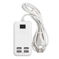Incarcator USB 15W 3A cu cablu MRG L342, USB, 4 porturi, Alb C342