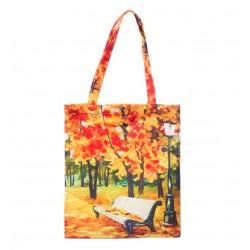 Geanta Textila, Imprimeu Dupa Pictura Unui Peisaj de Toamna, Multicolor