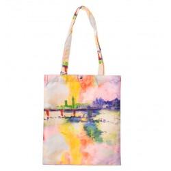 Geanta Textila, Imprimeu Dupa Pictura Unui Peisaj Lac, Multicolor