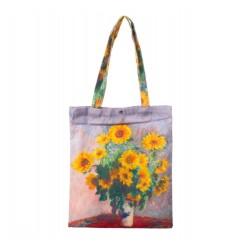 Geanta Textila, Imprimeu Dupa Pictura Floarea Soarelui de Van Gogh, Multicolor
