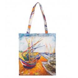 Geanta Textila, Imprimeu Dupa Pictura unui Peisaj cu Barcute, Multicolor