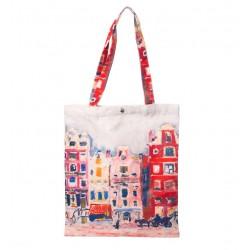 Geanta Textila, Imprimeu Dupa Pictura Cladiri, Multicolor