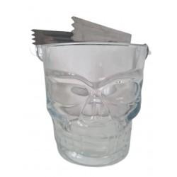 Frapiera Gheata din Sticla, in Forma de Craniu, Cleste pentru Gheata inclus, 900 ml