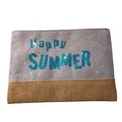 Geanta Port Farduri,Happy Summer ,Material textil, ideal Concediu