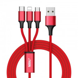 Cablu date si incarcare MRG M-533, 3 in 1, MicroUSB, Lightning, Type-C, Rosu C533