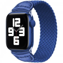 Curea iUni compatibila cu Apple Watch 1/2/3/4/5/6, 44mm, Braided Solo Loop, Blue
