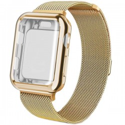 Curea iUni compatibila cu Apple Watch 1/2/3/4/5/6, 42mm, Milanese Loop, carcasa protectie incorporata, Gold