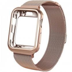 Curea iUni compatibila cu Apple Watch 1/2/3/4/5/6, 42mm, Milanese Loop, carcasa protectie incorporata, Rose