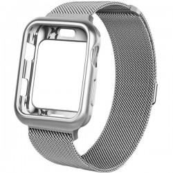 Curea iUni compatibila cu Apple Watch 1/2/3/4/5/6, 38mm, Milanese Loop, carcasa protectie incorporata, Silver