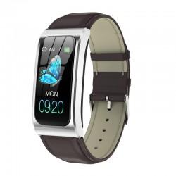 Bratara Smart Eleganta Techstar® AK12 ARGINTIU - PIELE, Waterproof, Unisex, Monitorizare Somn, Cardiaca, IP65