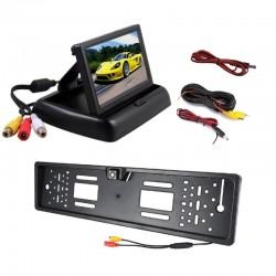 "Kit 2 in 1, suport numar inmatriculare cu camera marsarier si monitor 4.3"" pliabil"