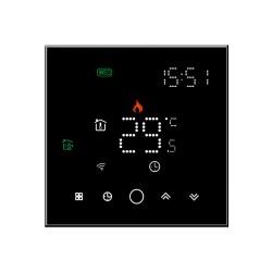 Ambient Termostat Techstar® Smart TH-10W, Wireless, 16A, 3500W, Google Home, Alexa, Tuya, Senzor Pardoseala, Negru