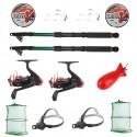 Set pescuit cu doua lansete eastshark 2,4m, doua mulinete YF200 si accesorii