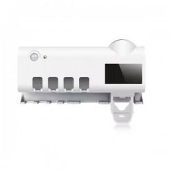 Suport si dozator periute si pasta de dinti, senzor miscare, incarcare solara si retea, sterilizator cu lumina