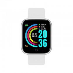 Ceas Smartwatch Techstar® Y68, 1.30 inch IPS, Bluetooth 4.0, Monitorizare Puls, Tensiune, Alerte Sedentarism, Hidratare, Alb