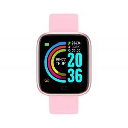 Ceas Smartwatch Techstar® Y68, 1.30 inch IPS, Bluetooth 4.0, Monitorizare Puls, Tensiune, Alerte Sedentarism, Hidratare, Roz