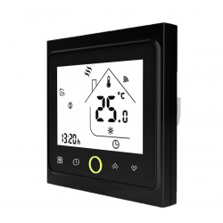 Ambient Termostat Techstar® Smart TH-20W, Wireless, 16A, 3500W, Google Home, Alexa, Tuya, Senzor Pardoseala, Negru