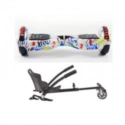 Hoverboard 6.5 inch, Junior Graffiti, motor 700w + scaun Hoverkart negru