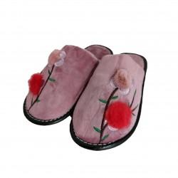 Papuci Dama de Casa din Material Textil cu Model