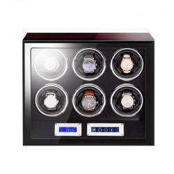 Cutie intors ceasuri automatice cu amprenta iUni, Luxury Watch Winder 6 Mahon-Black