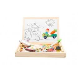 Joc multifunctional educativ din lemn, cu tablita magnetica cu doua fete si puzzle magnetic, varsta 3 ani+,