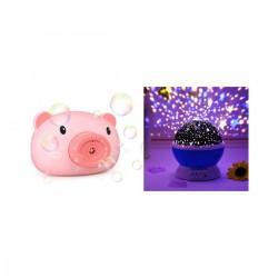 Aparat foto purcelus de facut baloare, roz + Lampa de Veghe Rotativa cu Proiectie Stele si Luna