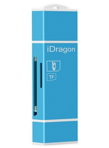 Card Reader iUni Lightning + MicroUSB OTG, Memorie Externa pentru dispozitive iOS si Android, Blue imagine techstar.ro 2021