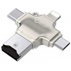 Card Reader iUni iDragon 4 in 1 Lightning, MicroUSB, Type-C si USB 3.0 pentru iPhone, iPad, iPod, Silver