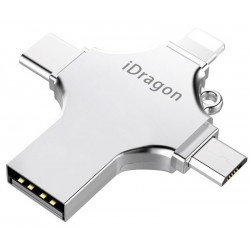 Stick USB-C iUni iDragon 4 in 1 Lightning, MicroUSB, Type-C si USB 3.0 pentru Smartphone iOS si Android 64GB