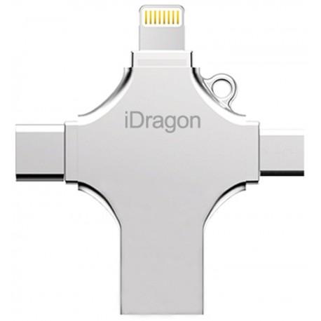 Stick USB-C 32GB iUni iDragon 4 in 1 Lightning, MicroUSB, Type-C, USB 3.0 Smartphone iOS si Android