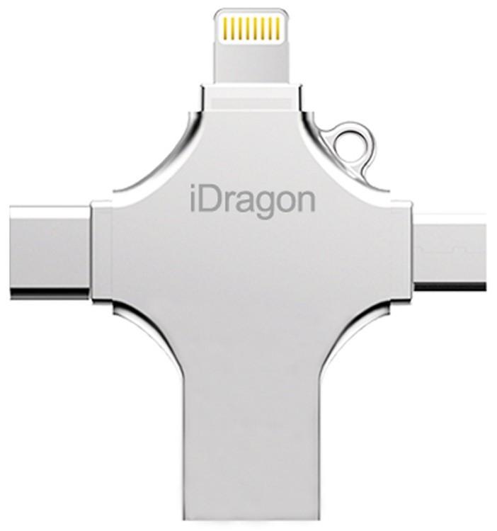 Stick USB-C iUni iDragon 4 in 1 Lightning, MicroUSB, Type-C, USB 3.0 pentru Smartphone iOS si Android 16GB