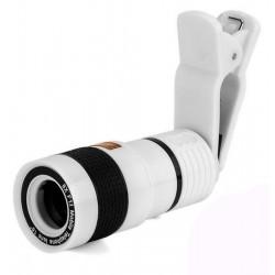 Lentila Zoom 8x iUni Teleobiectiv Optic cu clips de prindere, compatibil cu Smartphone si Tableta, Alb