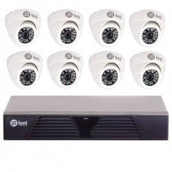 Sistem Supraveghere iUni 8 Camere CMOS 1 MP, 24 Led IR, DVR 8 Canale HD 720p, HDMI, VGA, 2 USB, LAN, PTZ