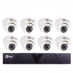 Sistem Supraveghere iUni 8 Camere CMOS 1 MP, 24 Led IR, DVR 8 Canale HD 720p, HDMI, VGA, 2 USB, LAN