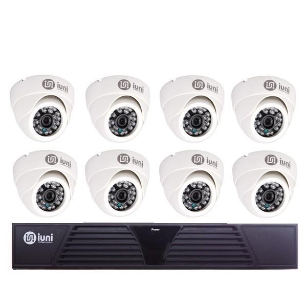 Sistem Supraveghere iUni 8 Camere CMOS 1 MP, 24 Led IR, DVR 8 Canale HD 720p, HDMI, VGA, 2 USB, LAN, PTZ, Antivandal