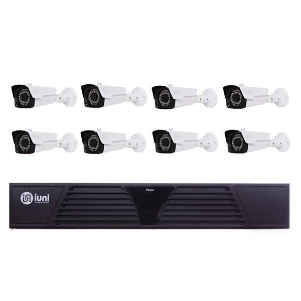 sistem supraveghere 8 camere iuni, 36 led ir, 1080p, hdmi, vga, 2 usb, lan, ptz, 8 canale audio, 8 microfoane active