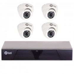 Sistem Supraveghere iUni 4 Camere CMOS 1 MP, 24 Led IR, DVR 4 Canale HD 720p, HDMI, VGA, 2 USB, LAN, PTZ, 4 canale audio