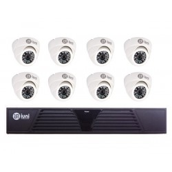 Sistem Supraveghere iUni 8 Camere CMOS 1 MP, 30 Led IR, DVR 8 Canale HD 720p, HDMI, VGA, 2 USB, LAN, PTZ, 4 canale audio