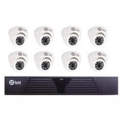 Sistem Supraveghere iUni 8 Camere CMOS 1 MP, 30 Led IR, DVR 8 Canale HD 720p, HDMI, VGA, 2 USB