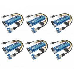 Riser PCI iUni V007, Set 6 buc, PCI-E 1X - 16X, cablu 6 pini, USB 3.0, mining BTC, ETH