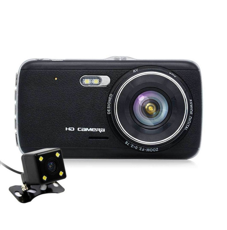 Camera Auto Dubla iUni Dash DC04 , Full HD, Senzor G, LCD 4.0 Inch, Detectare miscare, Night vision