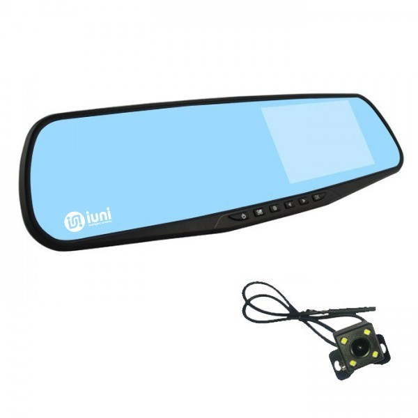 Camera Auto iUni Dash 810 Oglinda, Dual Cam, Full HD, Night Vision, Foto, Playback, Senzor G