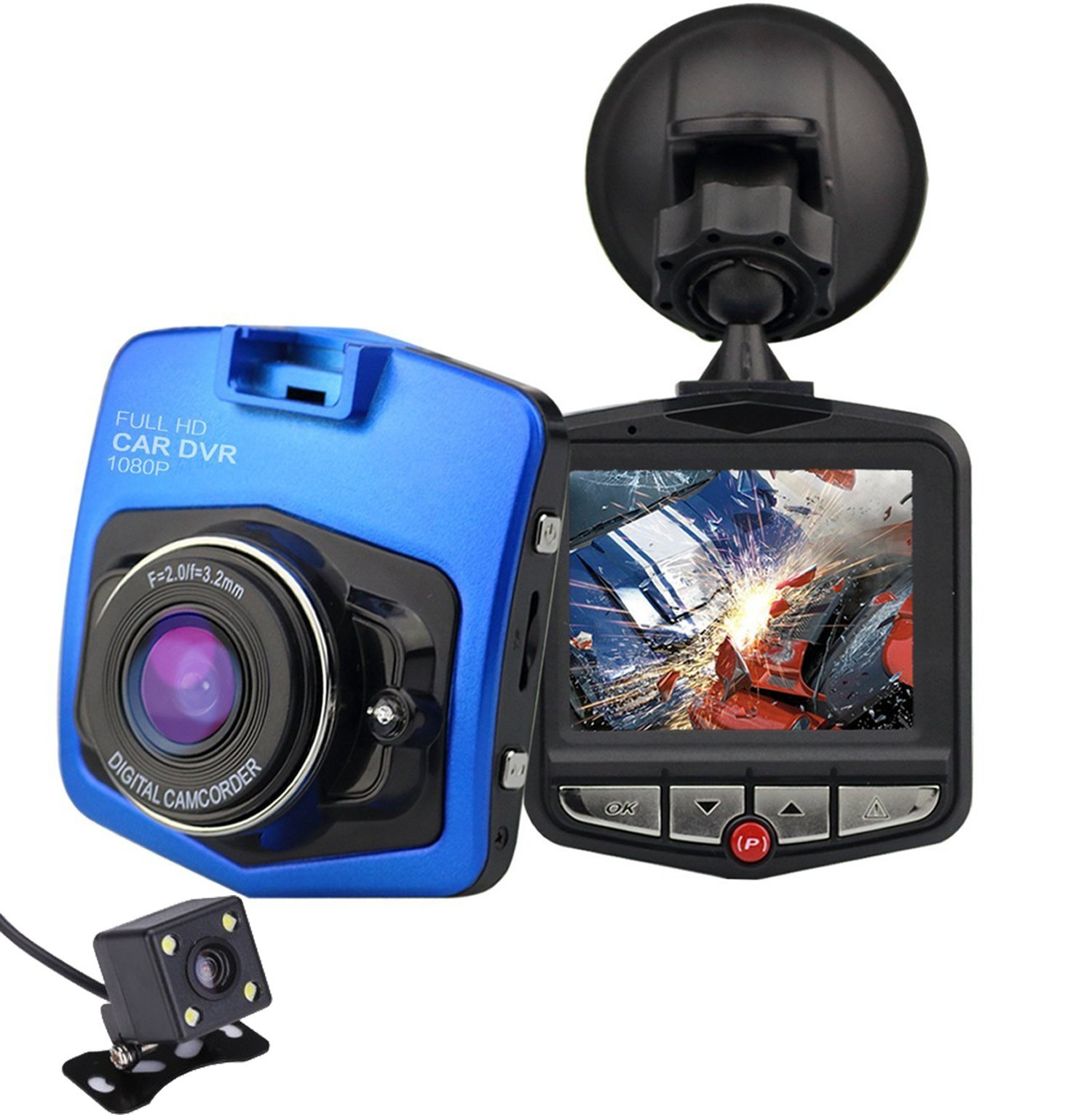 Camera auto Dubla iUni Dash 806, Full HD, 12Mpx, 2.5 Inch, 170 grade, Parking monitor, G senzor, Senzor de miscare, Blue imagine techstar.ro 2021