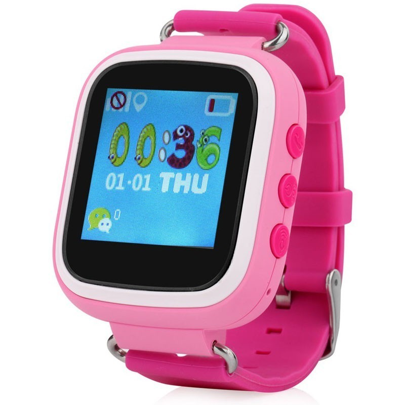 Ceas GPS Copii iUni Kid90, Telefon incorporat, Buton SOS, BT, LCD 1.44 Inch, Roz