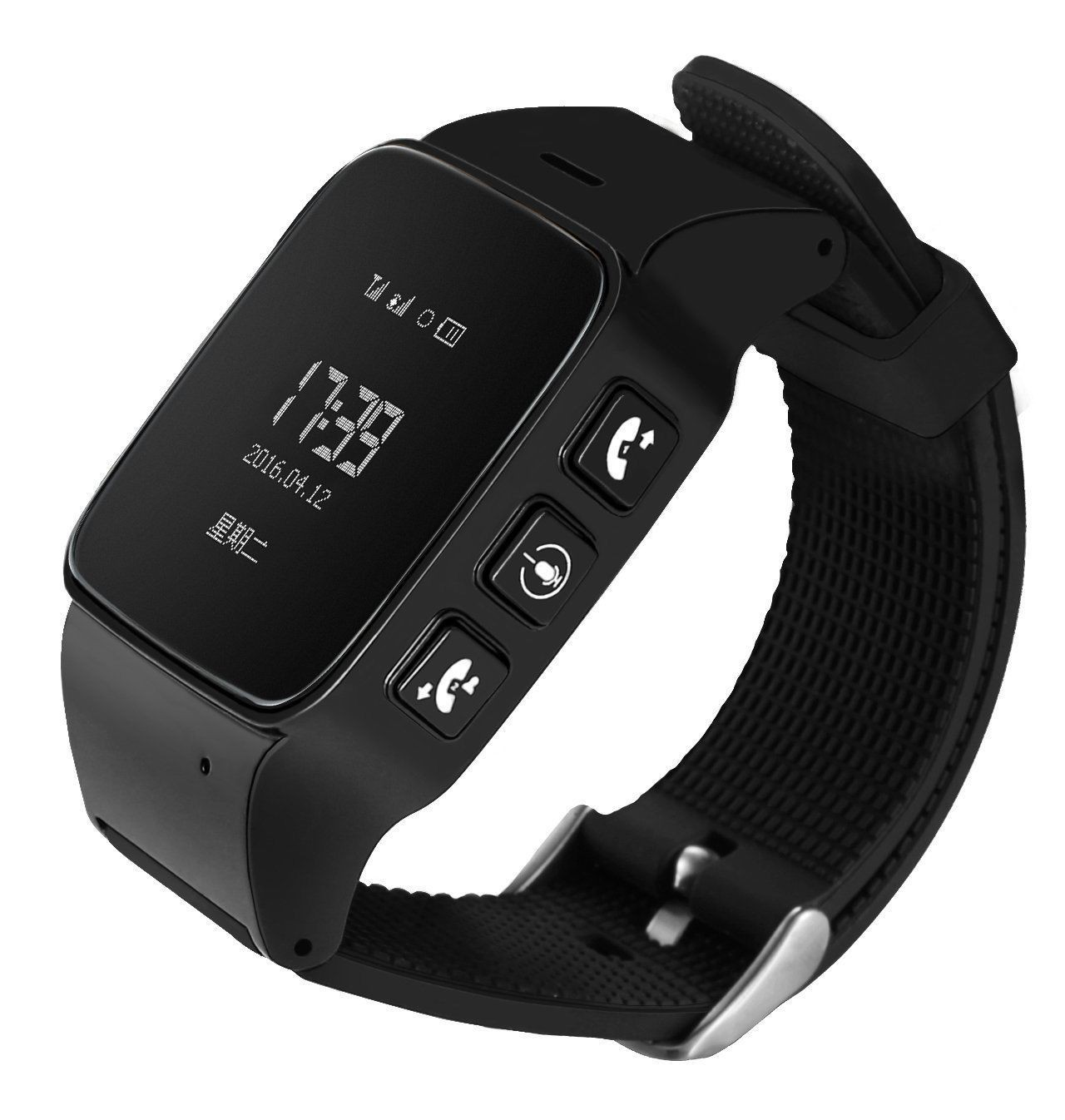 Techstar Ceas GPS Copii si Seniori iUni U100, Telefon incorporat, Pedometru, Notificari, Wi-fi, Black