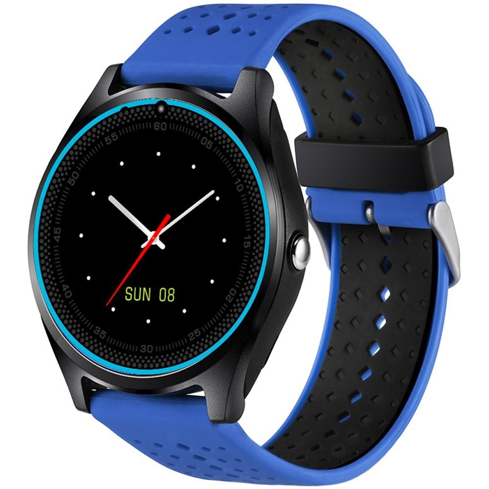 Ceas Smartwatch cu Telefon iUni V9 Plus, Touchscreen, 1.3 Inch HD, Camera 2MP, iOS si Android, Albastru