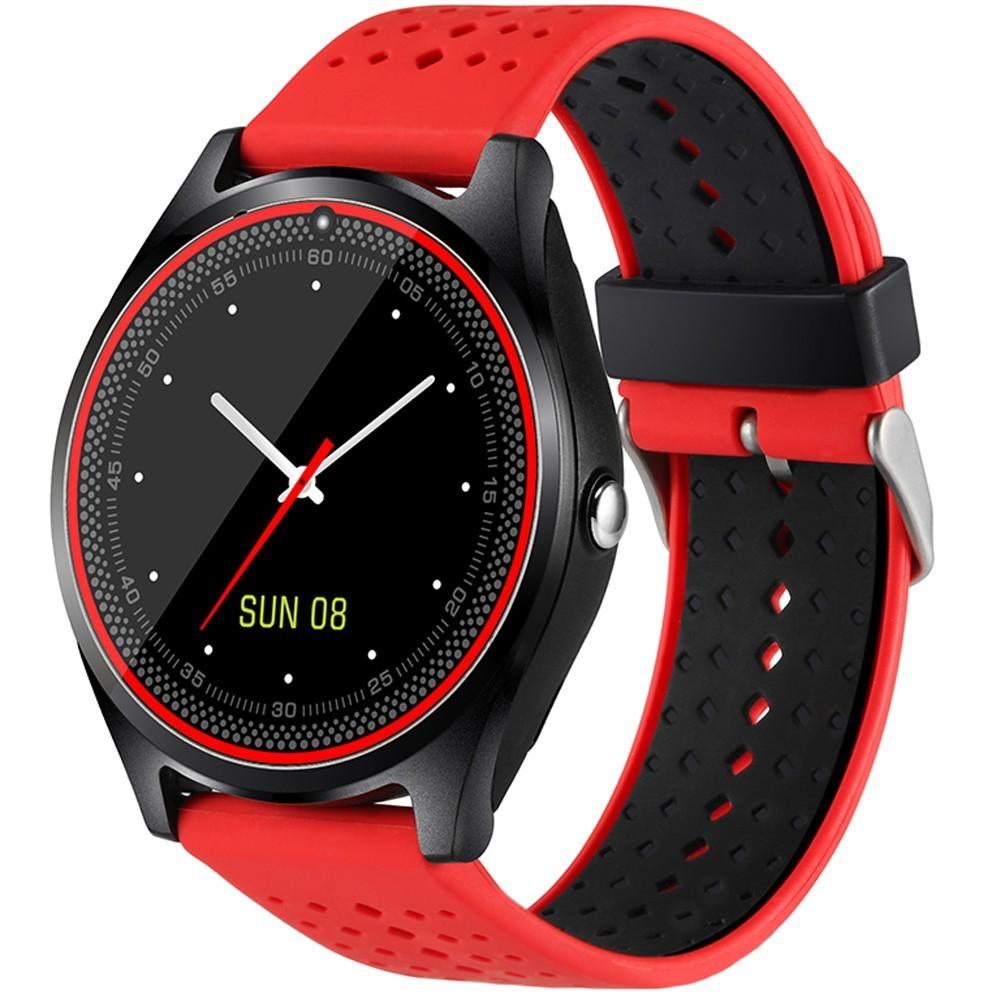 Ceas Smartwatch cu Telefon iUni V9 Plus, Touchscreen, 1.3 Inch HD, Camera 2MP, iOS si Android, Rosu imagine techstar.ro 2021