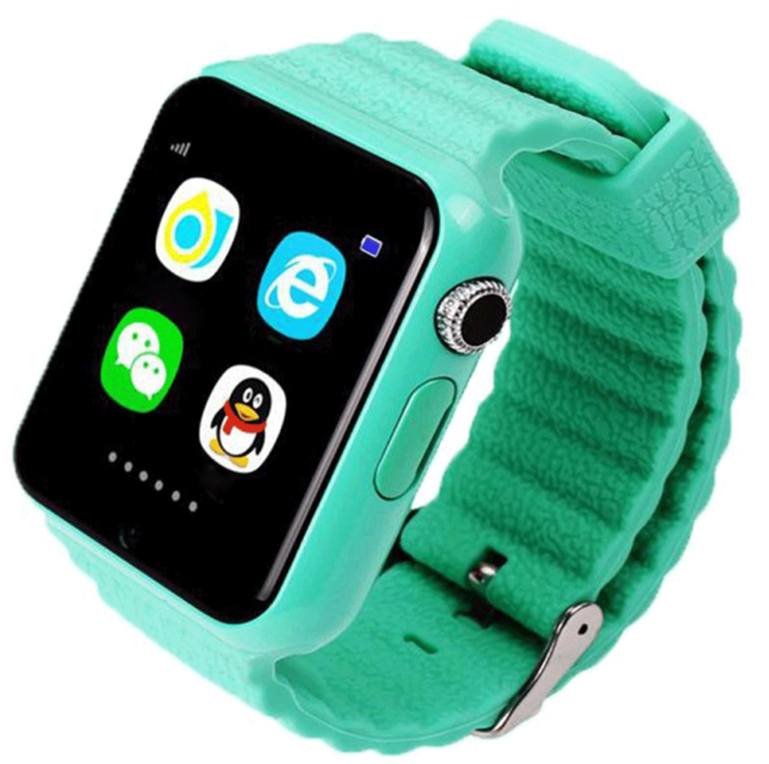 Ceas GPS Copii si Seniori iUni V8K, Pedometru, Touchscreen 1.54 inch, Bluetooth, Notificari, Camera, Green
