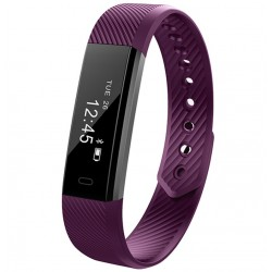 Bratara Fitness iUni ID115 Plus, Display OLED, Bluetooth, Pedometru, Monitorizare puls, Notificari, Android si iOS, Mov